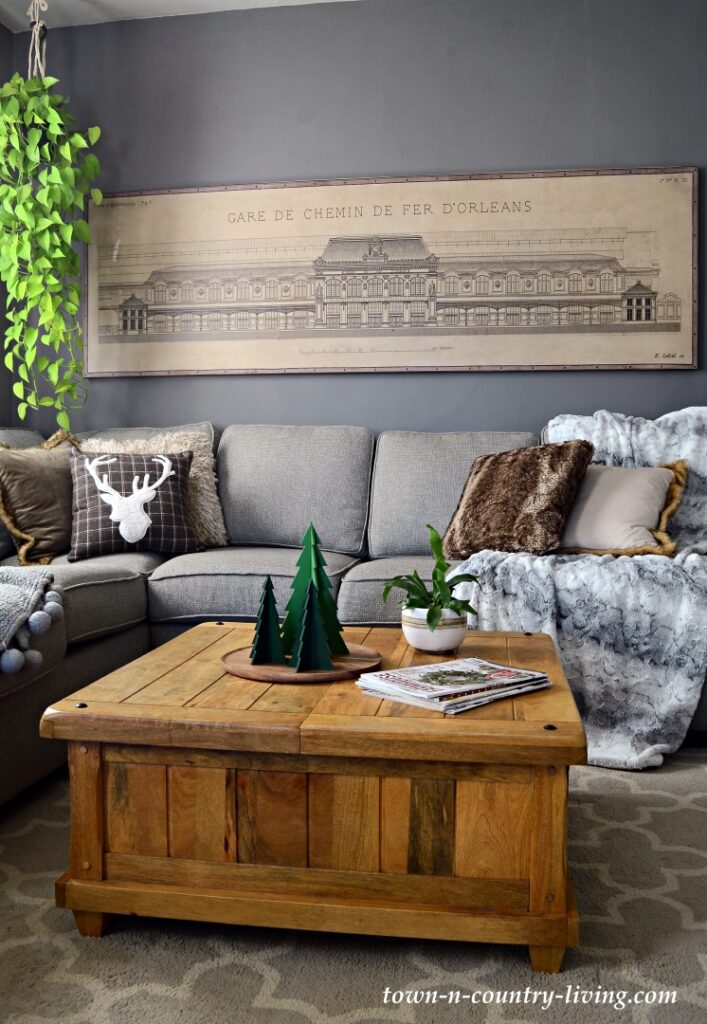 Dark Gray Family Room with Sectional and Large Architectural Print