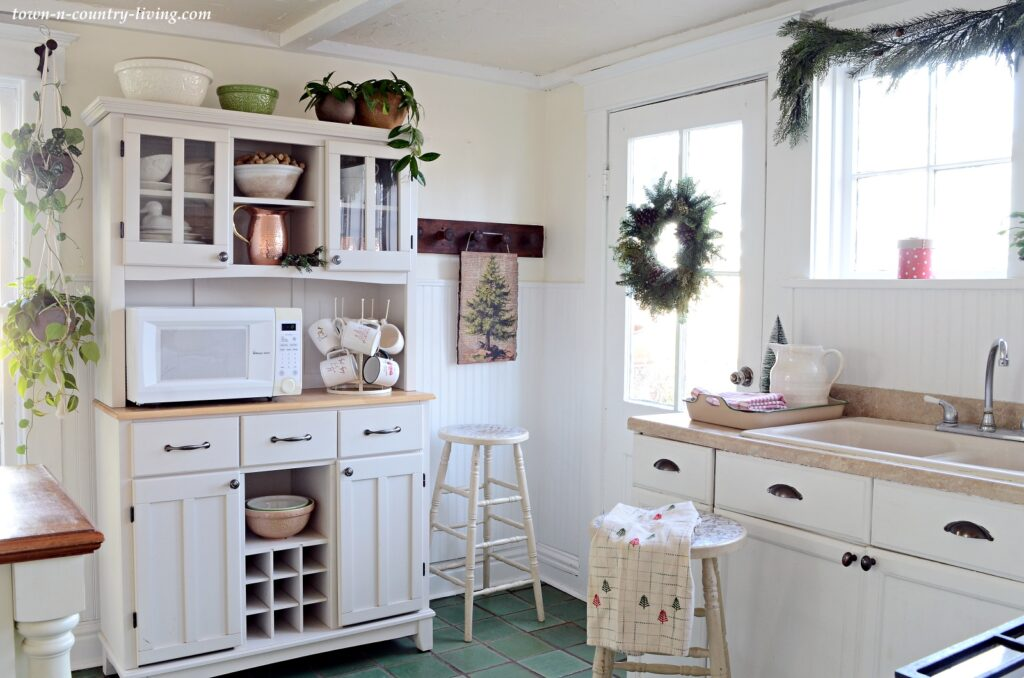 Country White Kitchen Decorated for Christmas