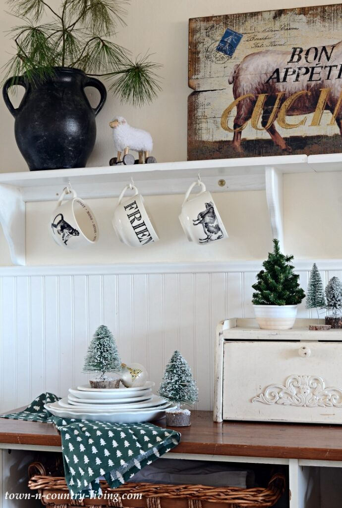 Christmas Decorations in a Farmhouse Kitchen
