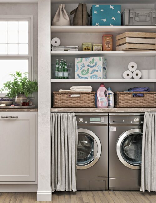 Laundry room organization with shelves and baskets