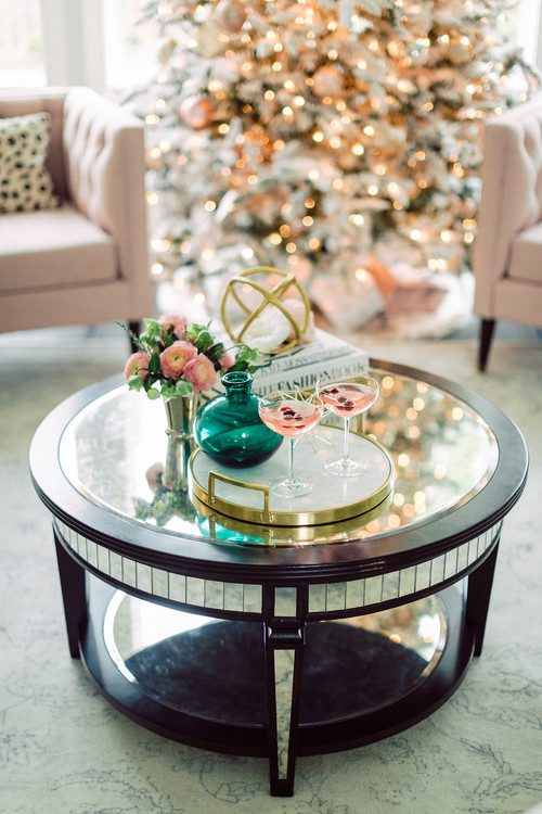 Living Room Coffee Table with Pink Holiday Martinis