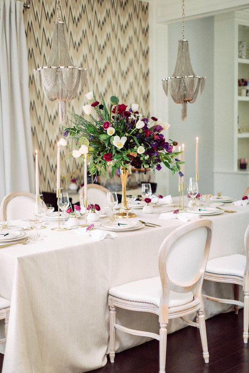 Elegant French Country Dining Room with Wallpaper