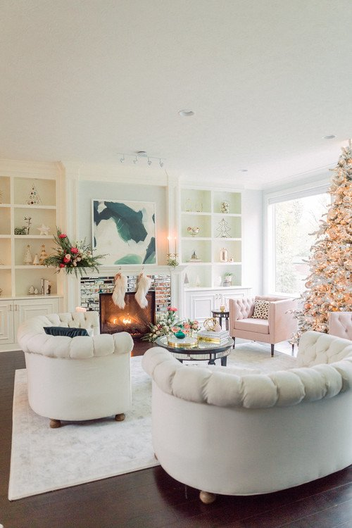 Glamorous Living Room in Pastel Pink and Gray - Decorated for Christmas