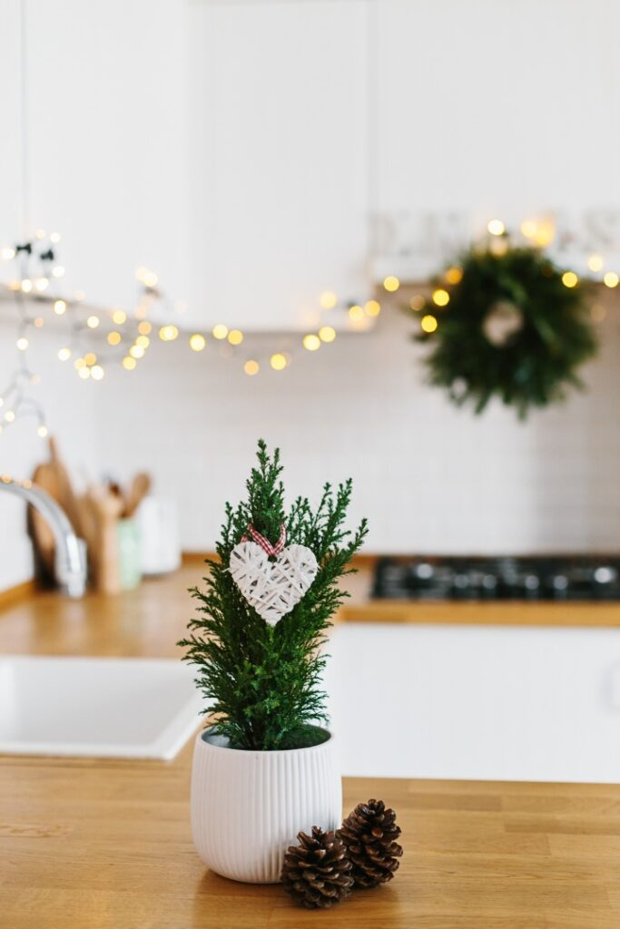 Scandinavian Style Christmas Decorations in a White Kitchen