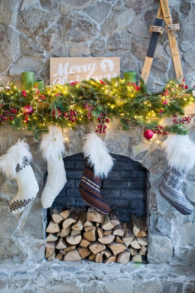Christmas fireplace with socks and decorations