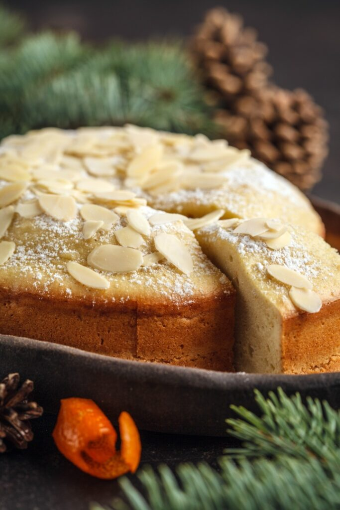 Traditional Christmas (Norwegian) almond cake in Christmas decorations