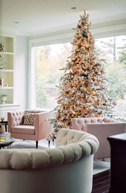 Pastel Glam Living Room with Christmas Tree
