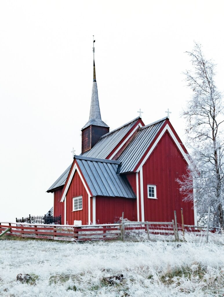 Red Scandinavian Building with New Fallen Snow