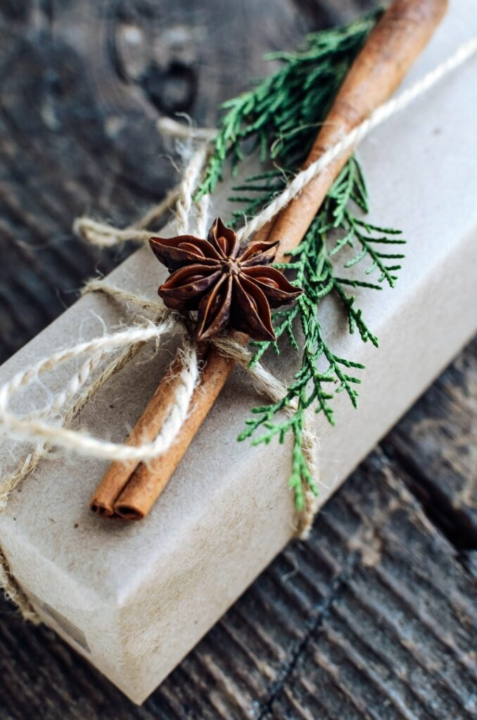 Simple Christmas Gift Wrapping with brown craft paper