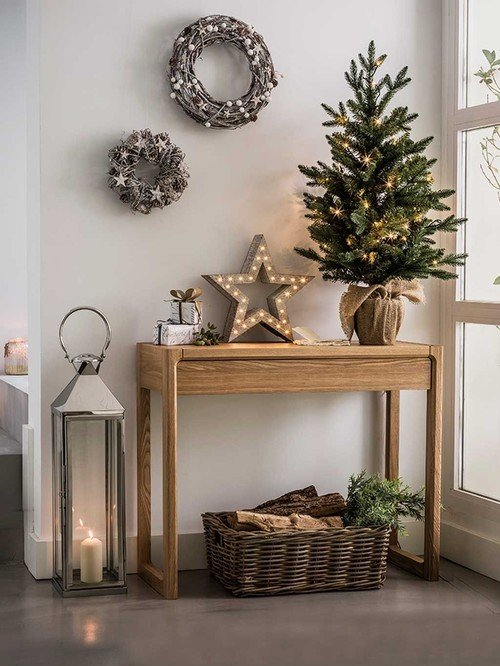 Scandinavian Style Entryway with Christmas Eye Candy