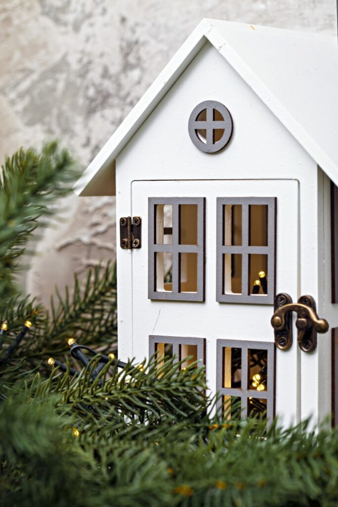 Swedish House Lantern at Christmastime