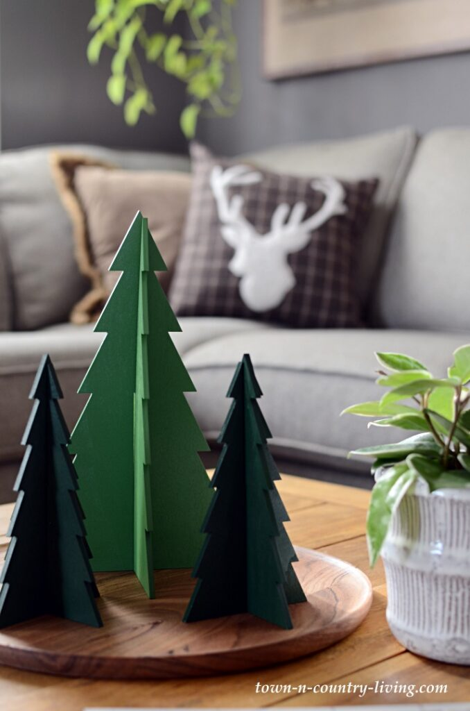 Wooden Christmas Tree Vignette in Family Room