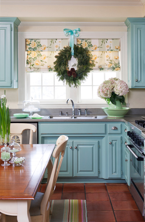 Light Blue Kitchen with Christmas Wreath at the Window