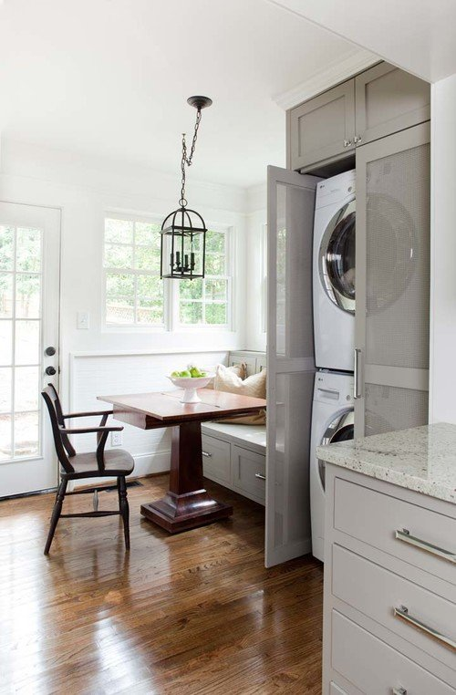 Breakfast room with stackable laundry in older English home