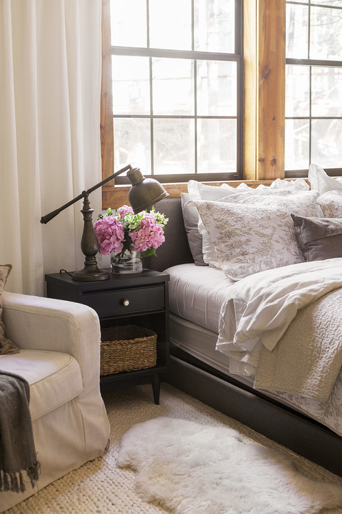 Nightstand with Vintage Reading Lamp in Master Bedroom