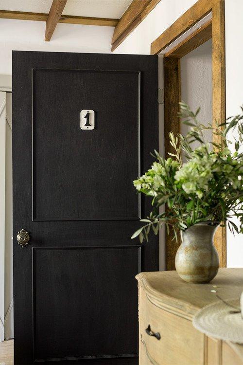 Master Bedroom Door Painted Black