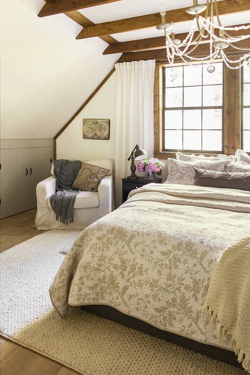 Rustic Cottage Bedroom with Under the Eaves Ceiling