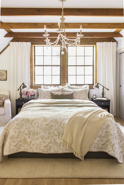 Cottage Style Master Bedroom with Chandelier