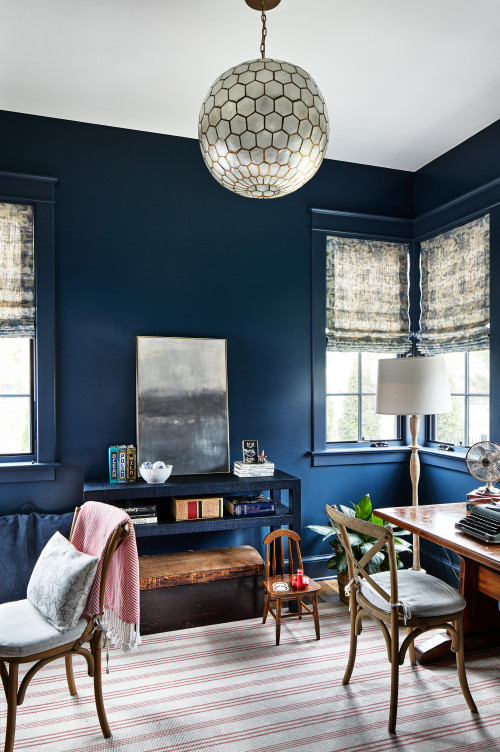 Dark Blue Home Office in Farmhouse Bungalow