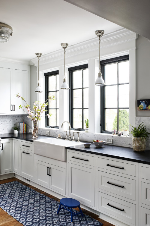 Farmhouse Bungalow Kitchen in White, Black, and a Bit of Blue