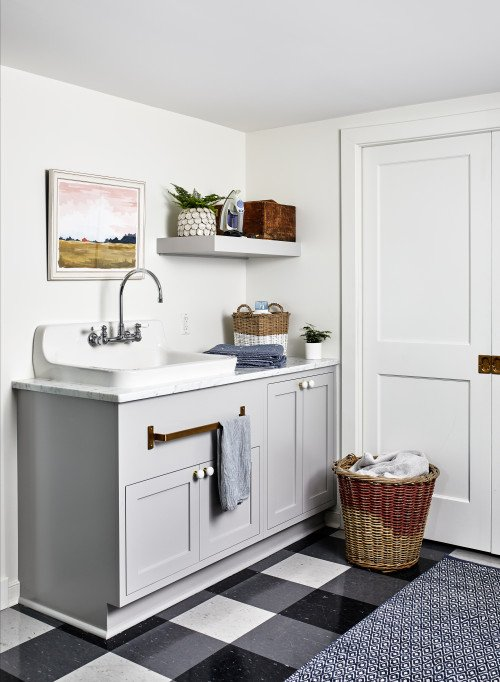 English cottage style laundry room in pale gray