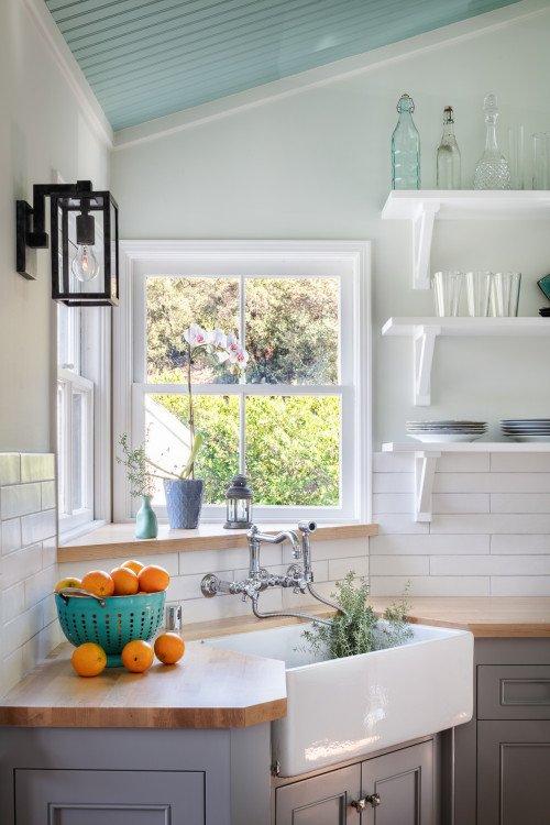 Corner Farmhouse Sink in Small Galley Kitchen