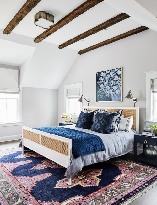 Master Bedroom with Beautiful Blue and Red Oriental Rug