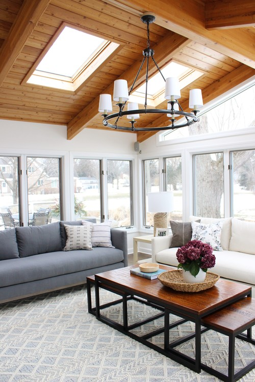 Wood Vaulted Ceiling in Family Room