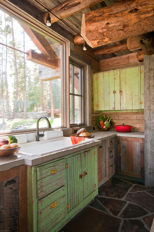 Rustic Kitchen Cabinetry Stained with Green