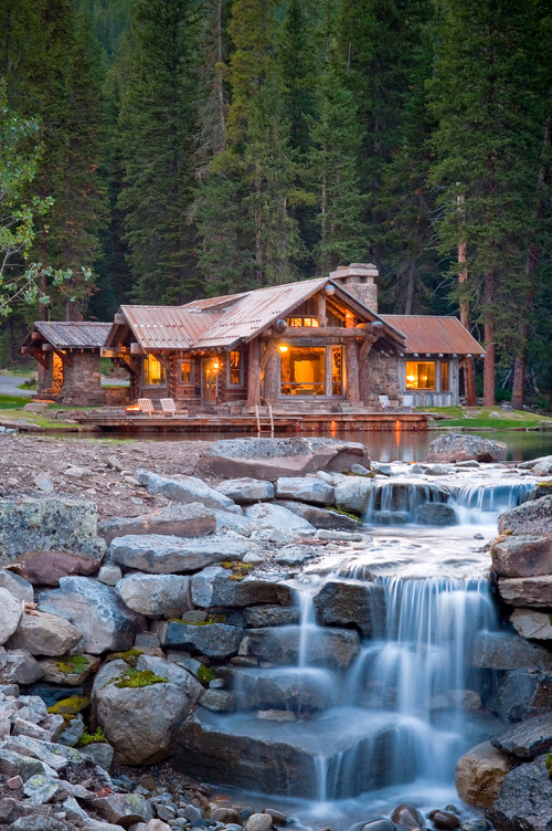Rustic Cabin in Montana with Waterfall in Front Yard