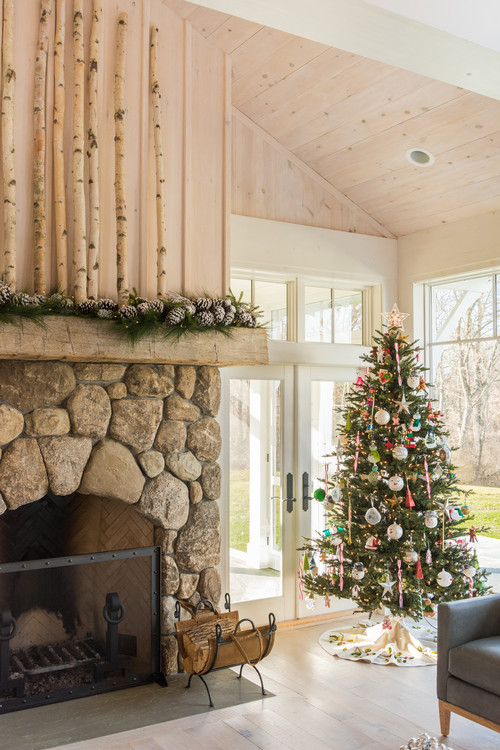 Rustic Stone Fireplace Decorated for Christmas
