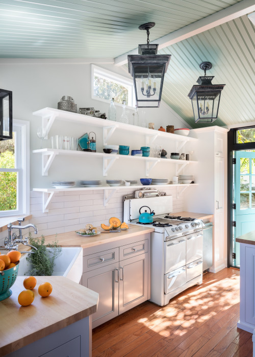 Cottage Style Kitchen with Open Shelves and Light Gray Cabinets