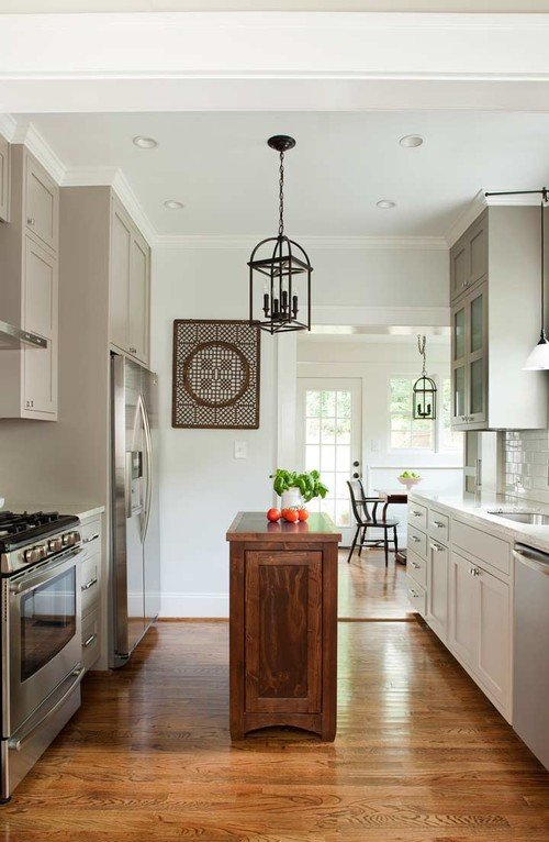 Small Kitchen in Neutral Tones with Natural Wood Kitchen Island