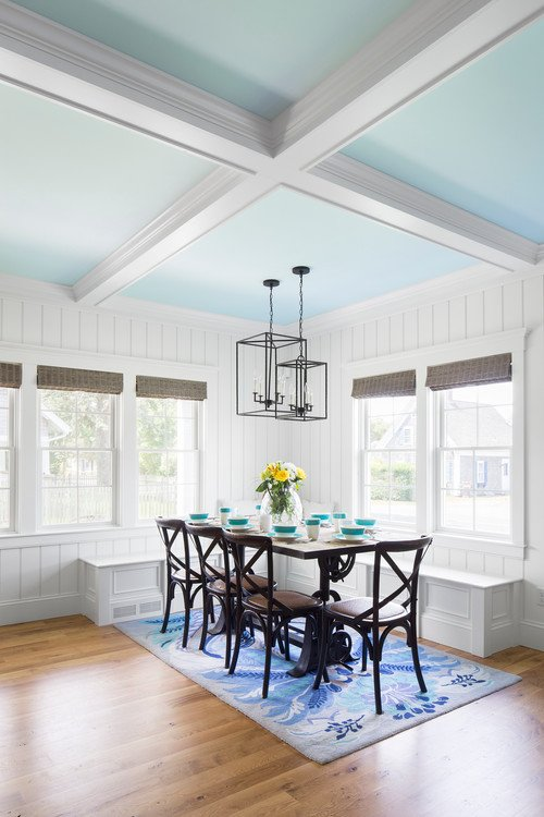 Blue and White Coffered Ceiling in Dining Room