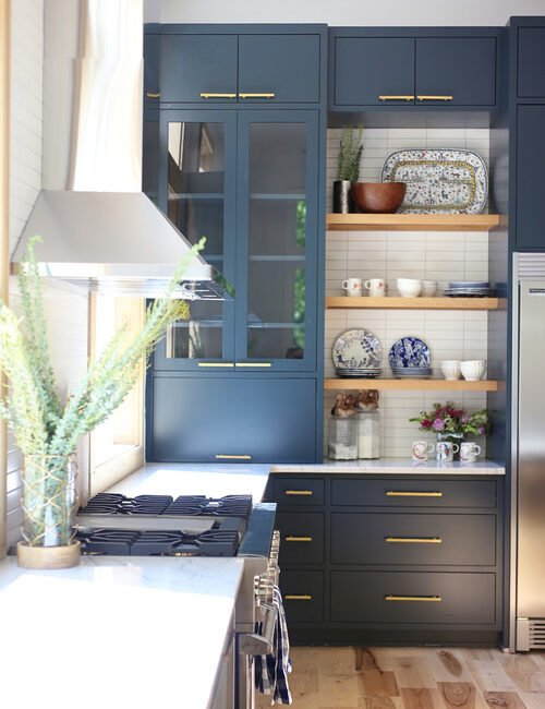 Transitional Kitchen with Rich, Navy Blue Cabinets