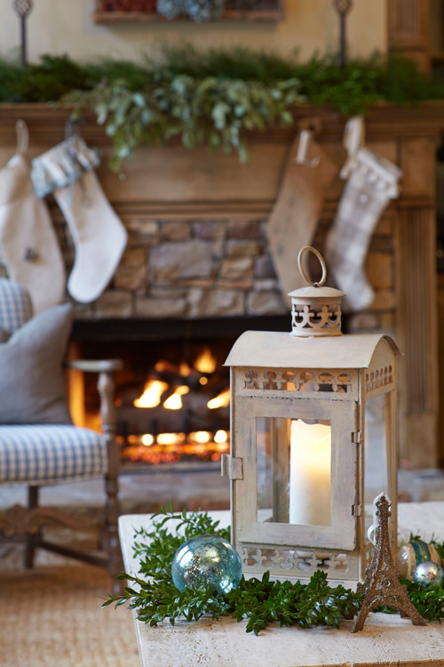 Christmas Stockings on a Stone and Wood Fireplace