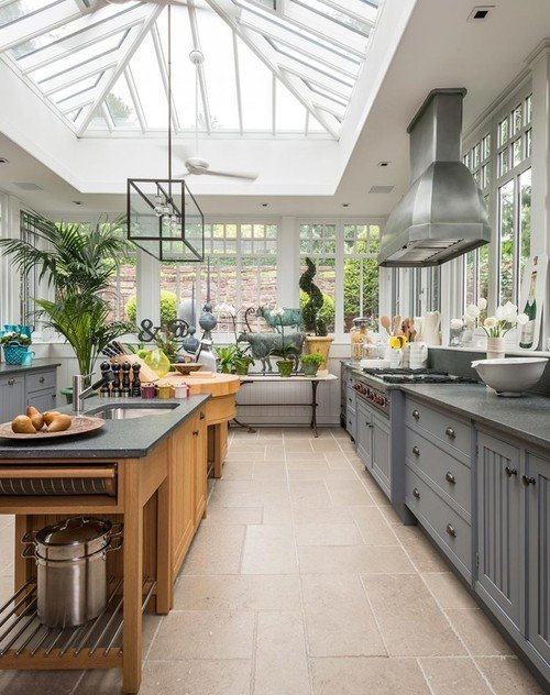 Eclectic Kitchen with Glass Ceiling