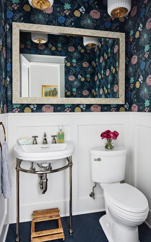 Modern floral wallpaper in vintage powder room