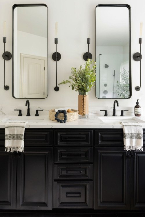 Black Vanity in Updated Bathroom