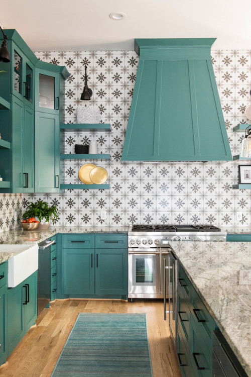 Patterned Wallpaper in Kitchen with Teal Cabinets