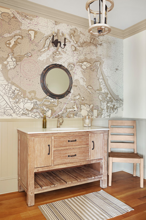 Bathroom with Map Wallpaper