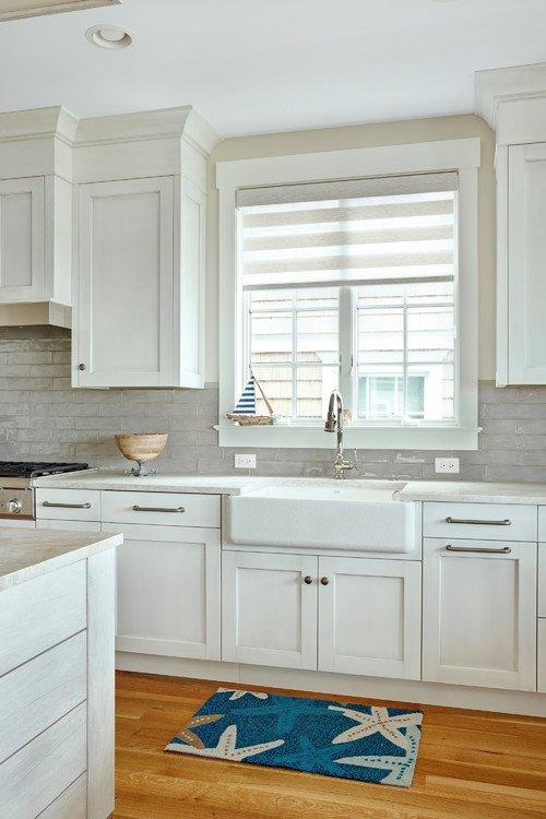 White and Blue Coastal Style Kitchen