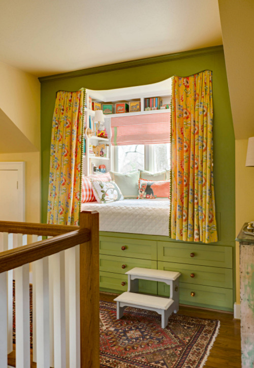 Colorful Built-In Scandinavian Style Window Seat