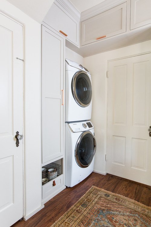 Stackable Washer and Dryer in Laundry Room