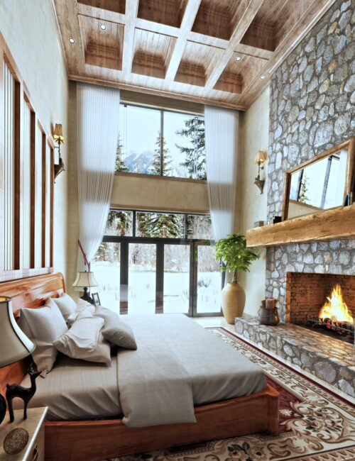 Elegant Cabin Style Bedroom with Fireplace