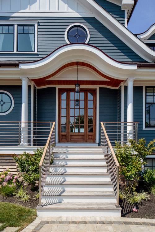 Front Porch and Door to Dark Blue East Coast Home