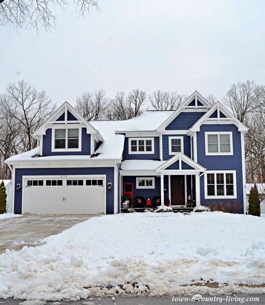 Beautiful Blue Custom Home Exterior During Winter