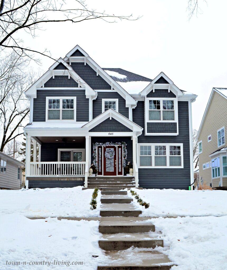 Dark Gray Custom Homes in the Snow in Naperville, IL
