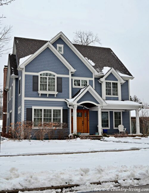 Beautiful Blue Custom Home Exterior During Winter