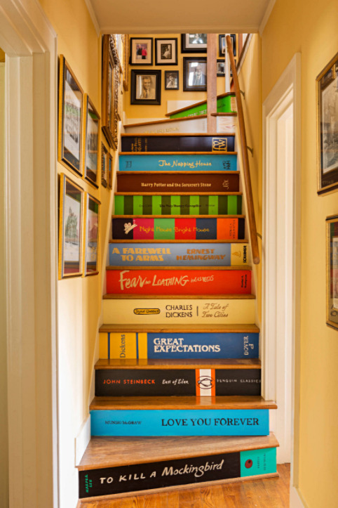 Creative, Colorful Staircase with Book Binder Risers